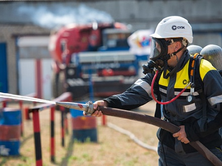 SUEK fire alarm training at Kharanorsky open pit